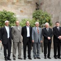 Fotografia dels nous consellers amb el Conseller Primer Bargalló i el President Maragall, a la remodelació del govern d'abril 2006